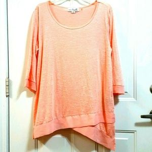 SIMPLY NOELLE L/XL (12-14) Orange 3/4 Sleeves Top